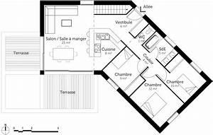 plan maison 100 m2 en v de plain pied ooreka With plan maison en v plain pied gratuit