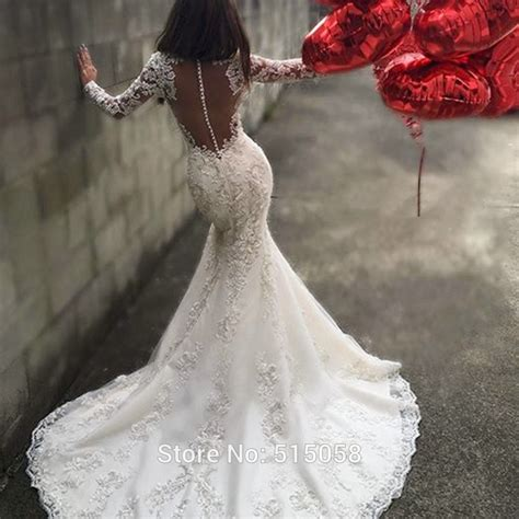 sexy open  long sleeves mermaid wedding dresses lace