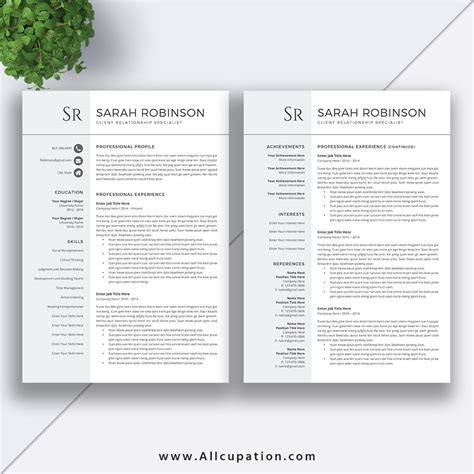 2 Page Resume Template by Professional Resume Template Cv Template Cover Letter