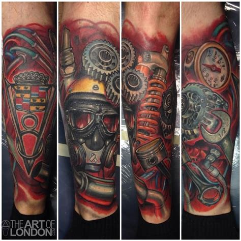 automotive car engine parts tattoo  leg tattoos