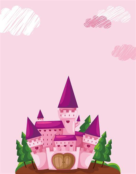 vector cartoon children princess castle background pink