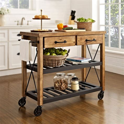 Roots Rack Natural Industrial Kitchen Cart Crosley