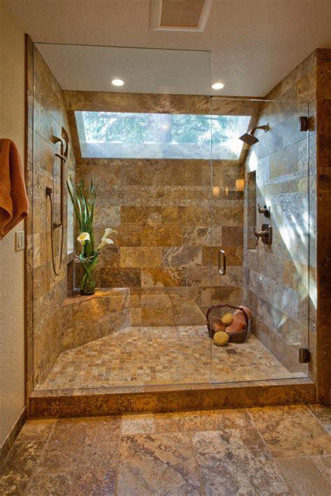 elegant walk  shower  tile walls  skylight hgtv