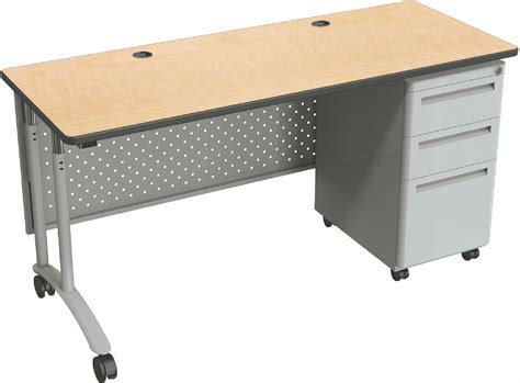 Desk On Wheels With Drawers by Computer Desk With Wheels Steel Maple Laminate