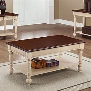 coaster furniture wood coffee table with dark brown top With white coffee table with dark wood top