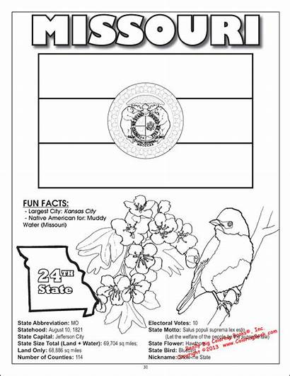 Coloring States Missouri Pages United Symbols State