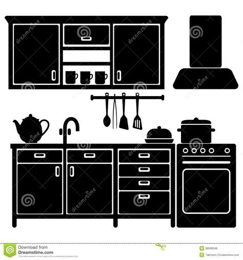 Set Of Black Kitchen Icons,utensils, Stock Vector   Image