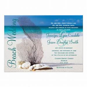 Beach seashells destination wedding invitations 45quot x 6 for Free online destination wedding invitations
