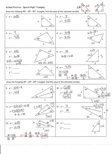 30 60 90 triangle worksheets geersc