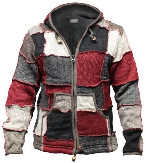 hippie sweaters mens hippy patch winter jacket multicoloured wool fleece