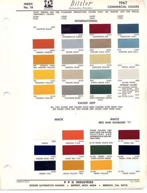 paint chips 1967 international truck commercial ihc
