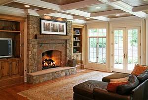 stone veneer fireplace Patio Contemporary with covered ...
