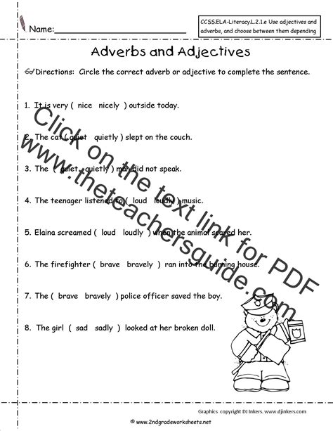 printables  adverb  adjective quiz geotwitter kids