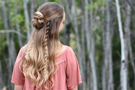 half up half down bun combo cute girls hairstyles