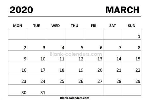 march  calendar monday start template print