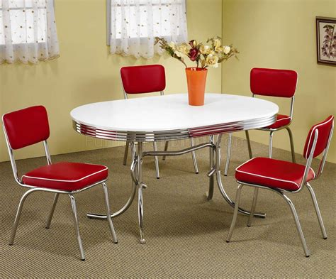 white oval top chrome base modern 5pc dining set w
