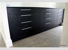 3 sets of 4 drawer cabinet in wardrobe, black melamine