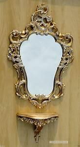 Barock Spiegel Gold Antik : wandspiegel wei gold antik mit konsole barock spiegelablage 50x76 wandregal ~ Bigdaddyawards.com Haus und Dekorationen
