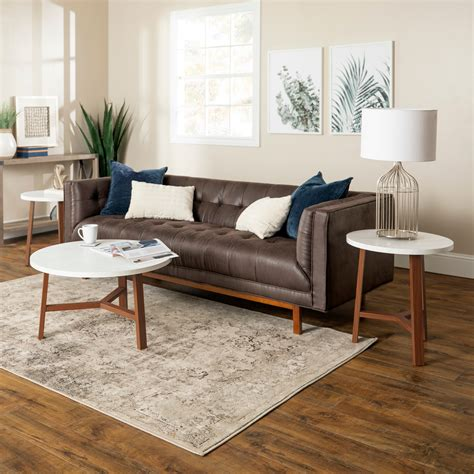 Faux marble top coffee table. Modern White Faux Marble Round Coffee Table - Pier1