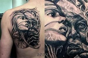 Frauen Rücken Tattoo : portr t r cken frau tattoo von aero inkeaters ~ Frokenaadalensverden.com Haus und Dekorationen