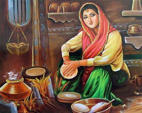 punjabi kitchen punjabi lady making roti sikh