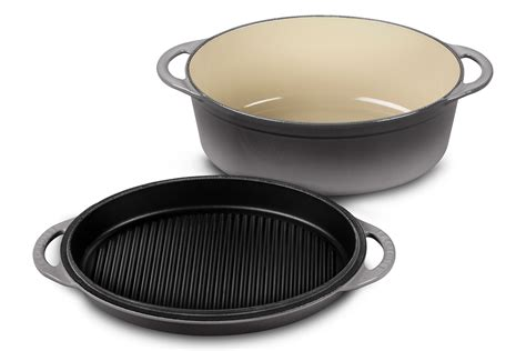 le creuset cast iron oval oven  reversible grill pan lid  quart oyster cutlery