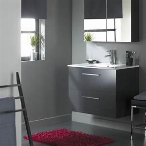 Meuble Tiroir Salle De Bain : vente meuble de salle de bain 80 cm meubles 2 tiroirs gris ~ Teatrodelosmanantiales.com Idées de Décoration