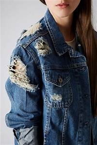 Topshop Moto Ripped Denim Jacket in Blue (MID STONE) | Lyst