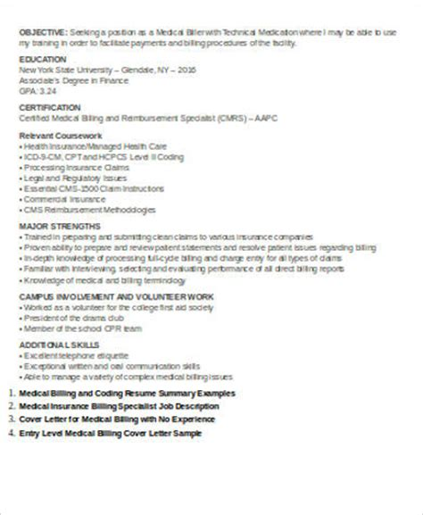 Resume For Entry Level Billing And Coding by Sle Billing Resume 7 Exles In Word Pdf