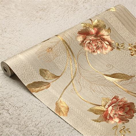 high quality european luxury floral striped wallpaper