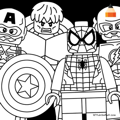 how to draw lego avengers minifigures