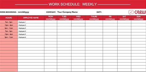Weekly Work Schedule Template - Free Templates