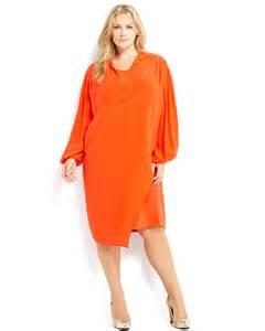 front to back split house marina rinaldi plus size orange bishop sleeve dress in