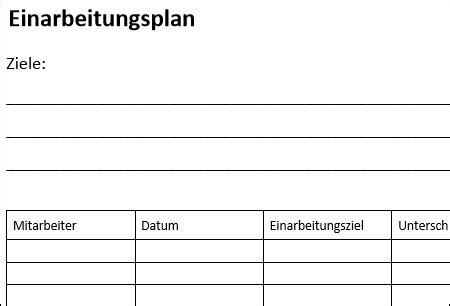 einarbeitungsplan fr neue mitarbeiter muster vorlagen