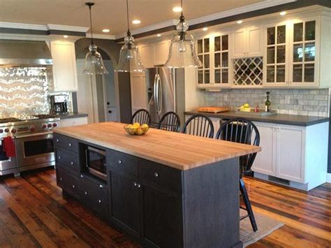black kitchen island with butcher block top white cabinets with grey quartz counter grey or 9769
