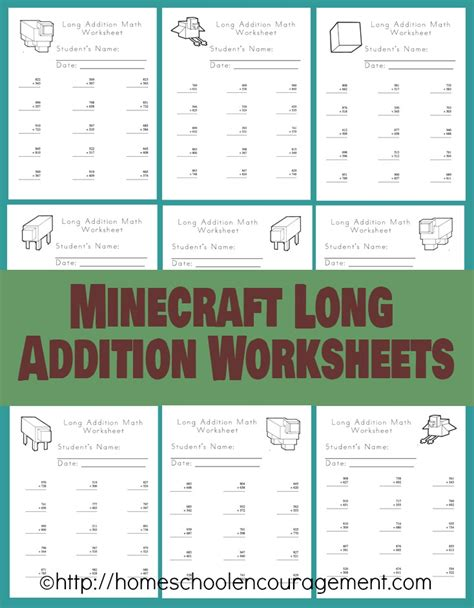 *free* Minecraft Long Addition Worksheets  Life Of A Homeschool Mom