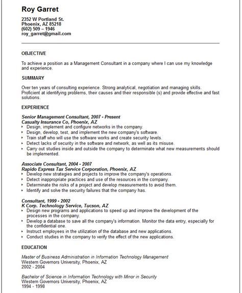 management consultant resume exle free templates