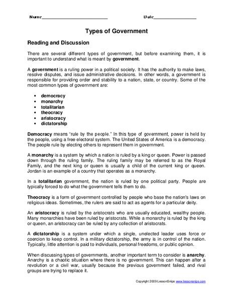 types of government worksheet for 3rd grade lesson planet