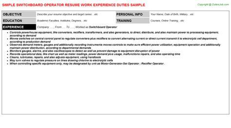 pbx operator resume switchboard operator resume sle