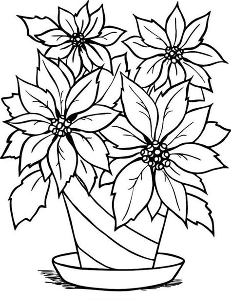 Coloring Flower by Poinsettia Flower Coloring Pages And Print