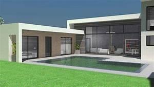 plan maison a toit terrasse plans de maisons d39architecte With maison toit plat en l 17 le pool house de piscine