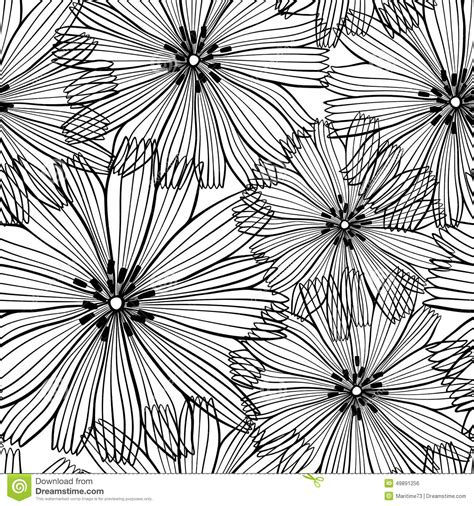 Abstract Flowers Black And White by Black And White Seamless Pattern Of Abstract Flowers