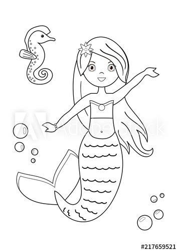 cartoon mermaid  seahorse coloring page  children