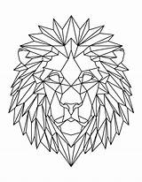 Lion Coloring Geometric Head Pages Printable Pdf Letter  sketch template