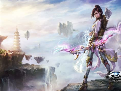 beautiful young girl archer bow arrows holster  armor   knees  hands hd wallpapers