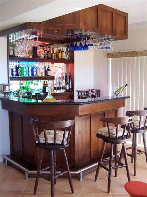 Modern Home Mini Bar Ideas by Mini Bar For Home With Hanging Wine Glass Rack And Open