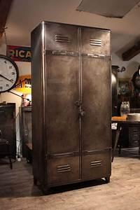 Meuble Industriel Vintage : meuble industriel ancien vestiaire deco loft meuble industriel vintage de renaud jaylac ~ Nature-et-papiers.com Idées de Décoration