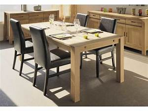 table a manger rectangulaire en chene finition huilee With meuble de salle a manger avec table en verre ronde conforama