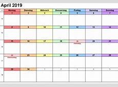 Kalender April 2019 zum Ausdrucken [PDF, Excel, Word
