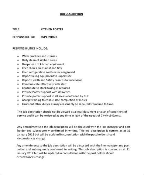 Kitchen Porter Description sle porter description 10 exles in word pdf
